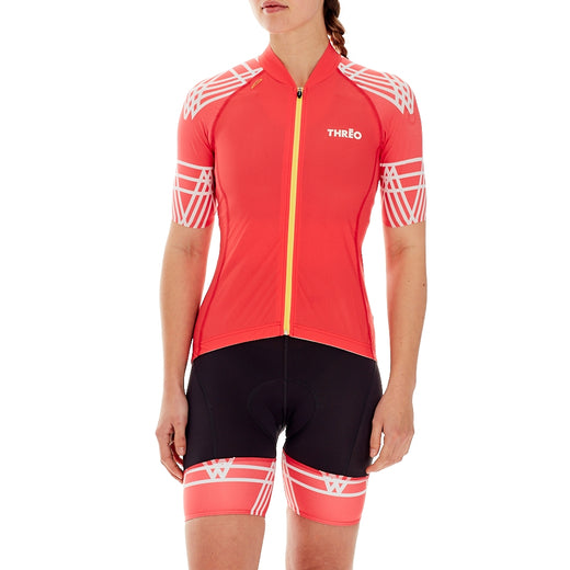 Threo Hope Valley Cycling Jersey - Coral/White | Velo Vixen