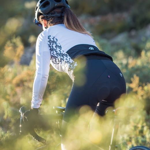 Assos women specific white long sleeved lightweight cycling jersey