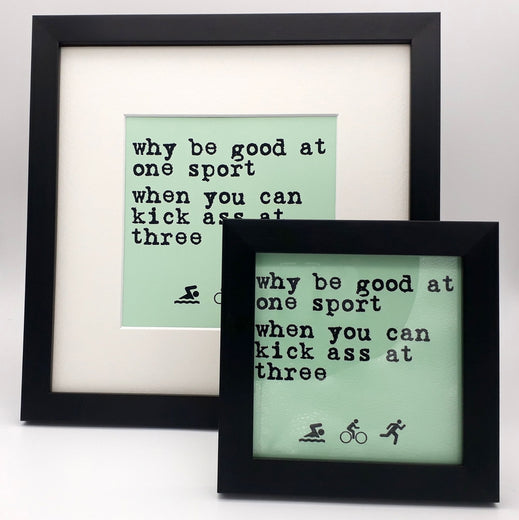 Worry Less Design Framed Print - Why be good at one sport | Velo Vixen