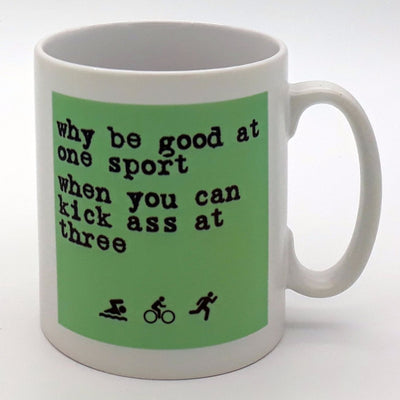 Worry Less Design Why be good at one sport Mug