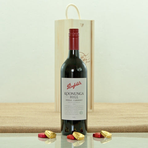 Penfolds Koonunga Hill Shiraz Cabernet in a Special Delivery Wooden Box