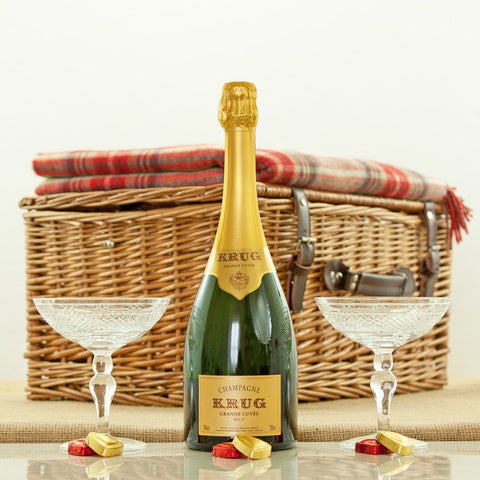 Krug Grande Cuvee and Grasmere Crystal Coupes Luxury Gift Hamper