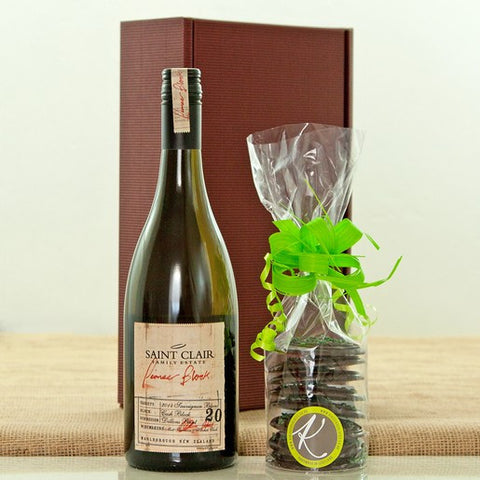 Saint Clair Pioneer Block Sauvignon Blanc and Mint Chocolate Disks Gift Box