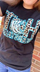 Teal Blue and Cheetah Shirts