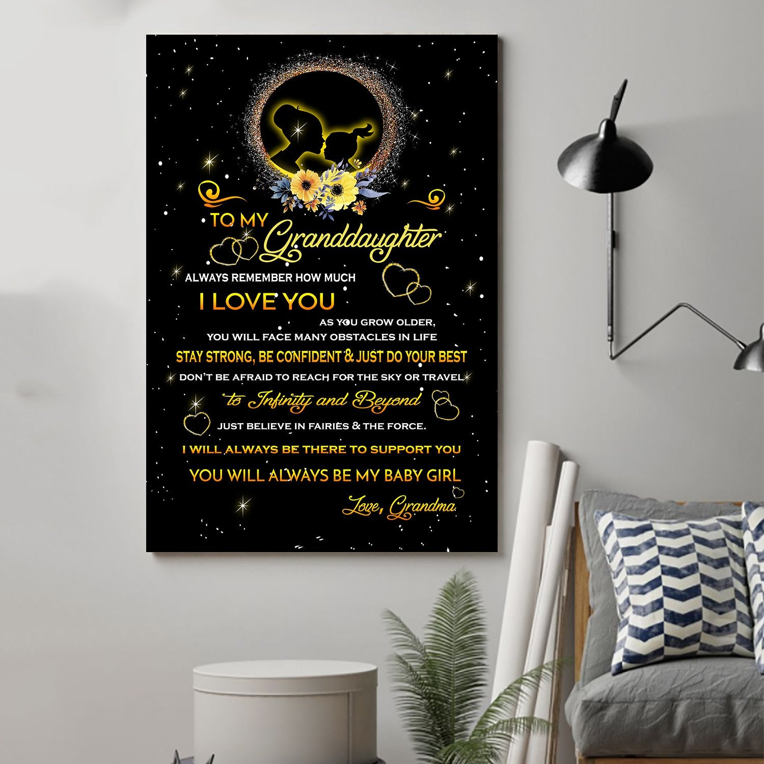(cv1038) LHD Family poster - To my granddaughter -