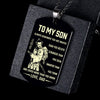 (DT78) Samurai black Dog Tag - Dad my Son - You are braver