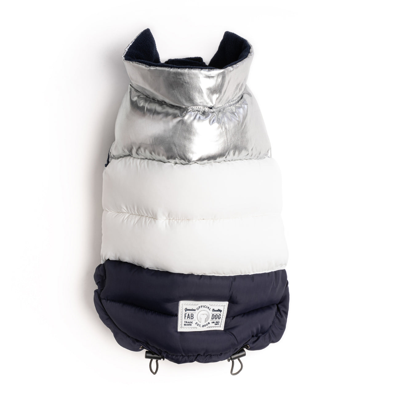 Silver, White, & Navy Color Block Puffer