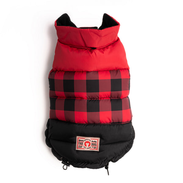 Red Buffalo Check Color Block Puffer