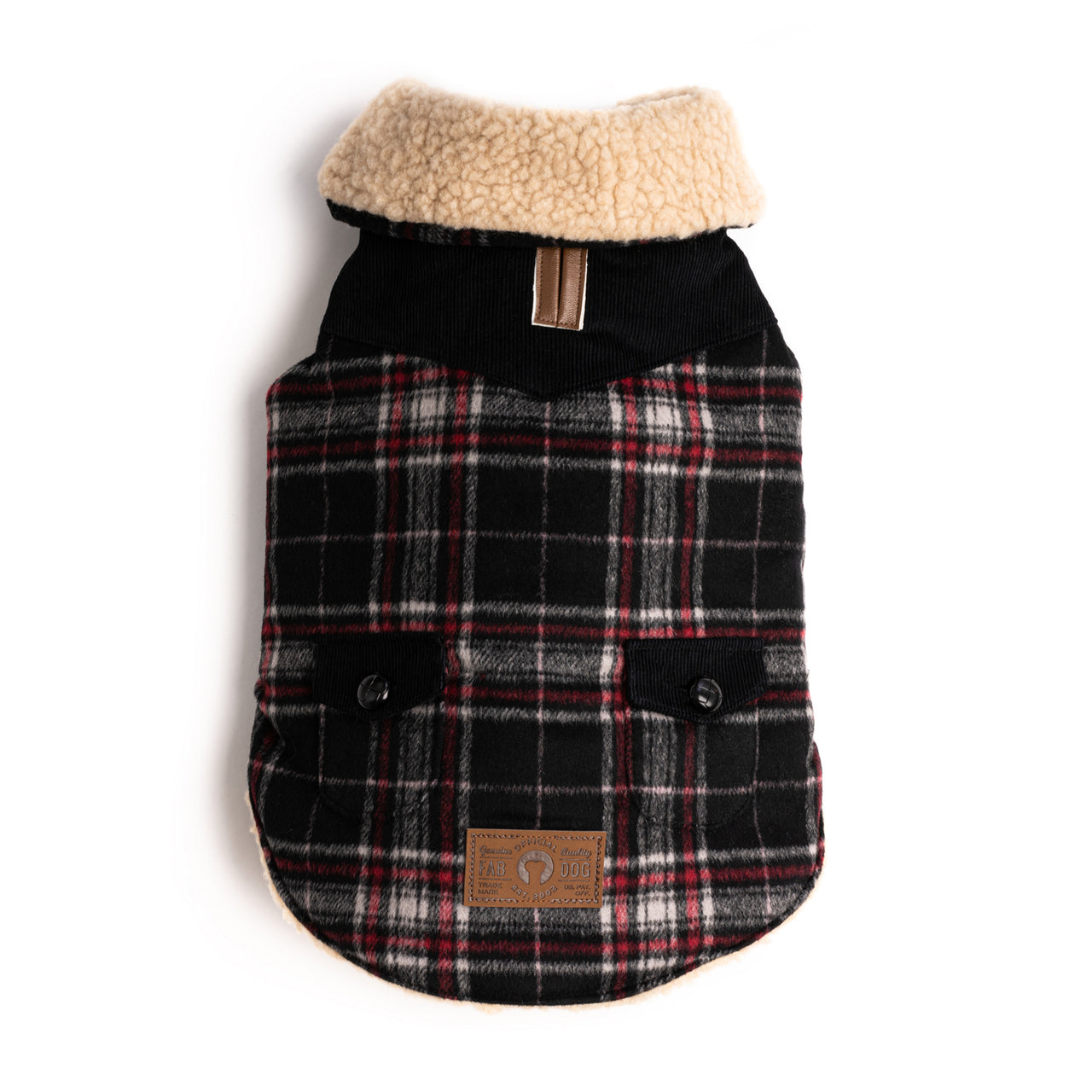 Black Wool Plaid Shearling Coat