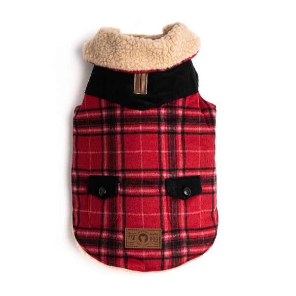 Red Wool Plaid Shearling Coat