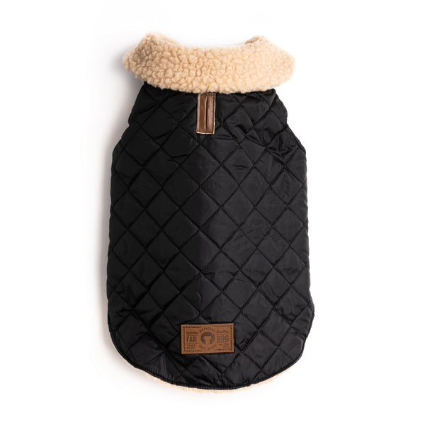 Black Quilted Shearling Coat