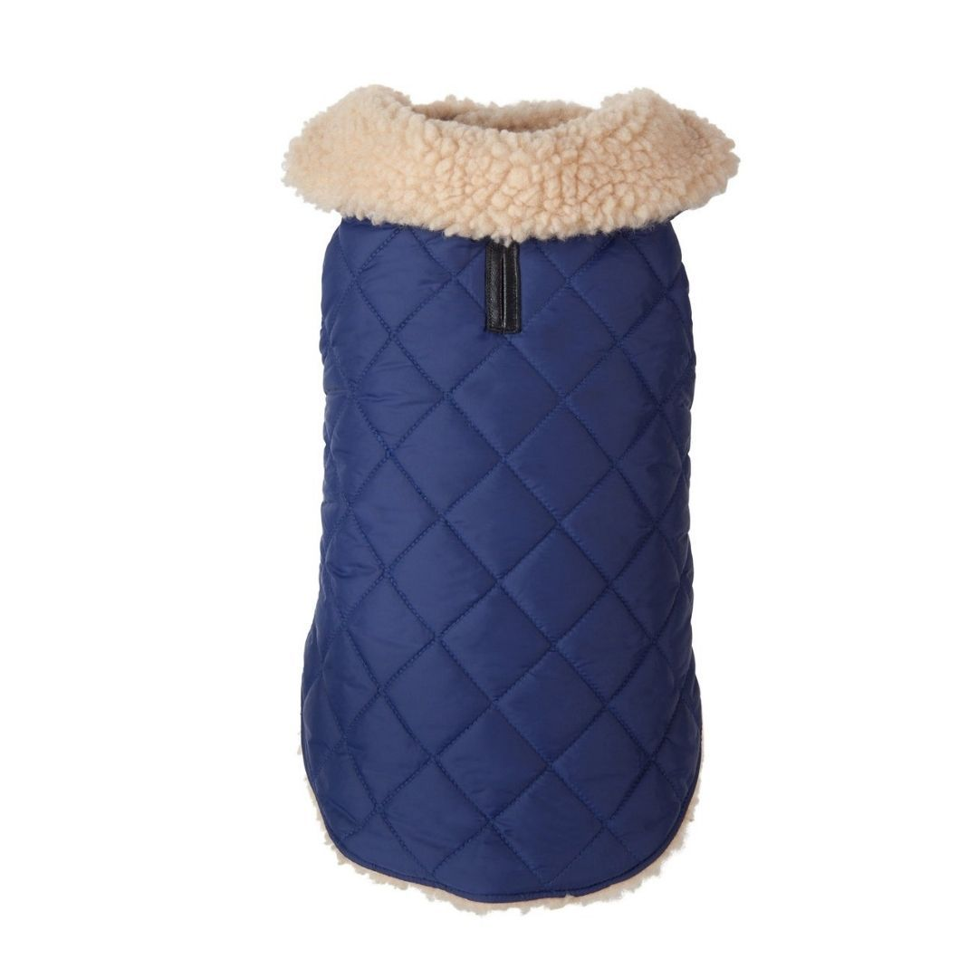 Navy Quilted Shearling