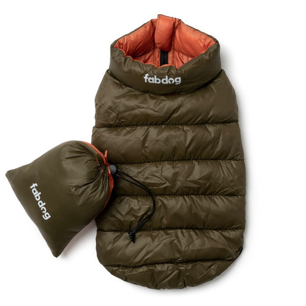 Olive & Orange Pack N' Go Reversible Puffer