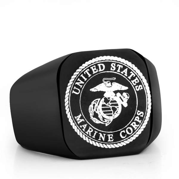 Black USMC Support Titanium Ring