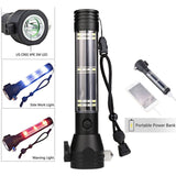Tactical 9-in-1 Multi-Function Flashlight / Survival Tool / PowerBank / Solar & USB