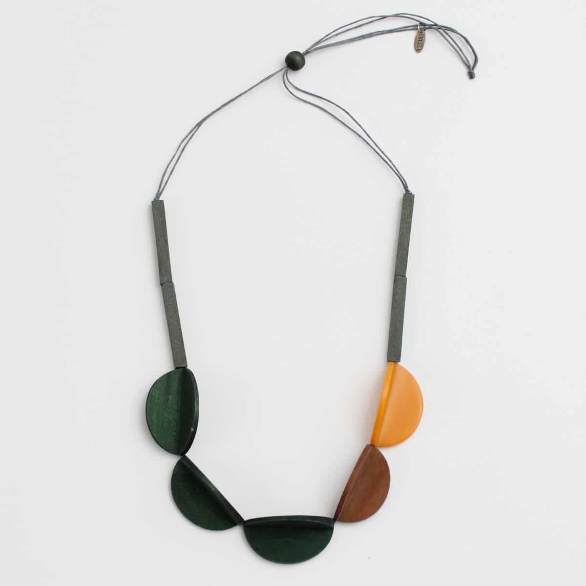 Green - Wood Cassie Necklace - Sylca