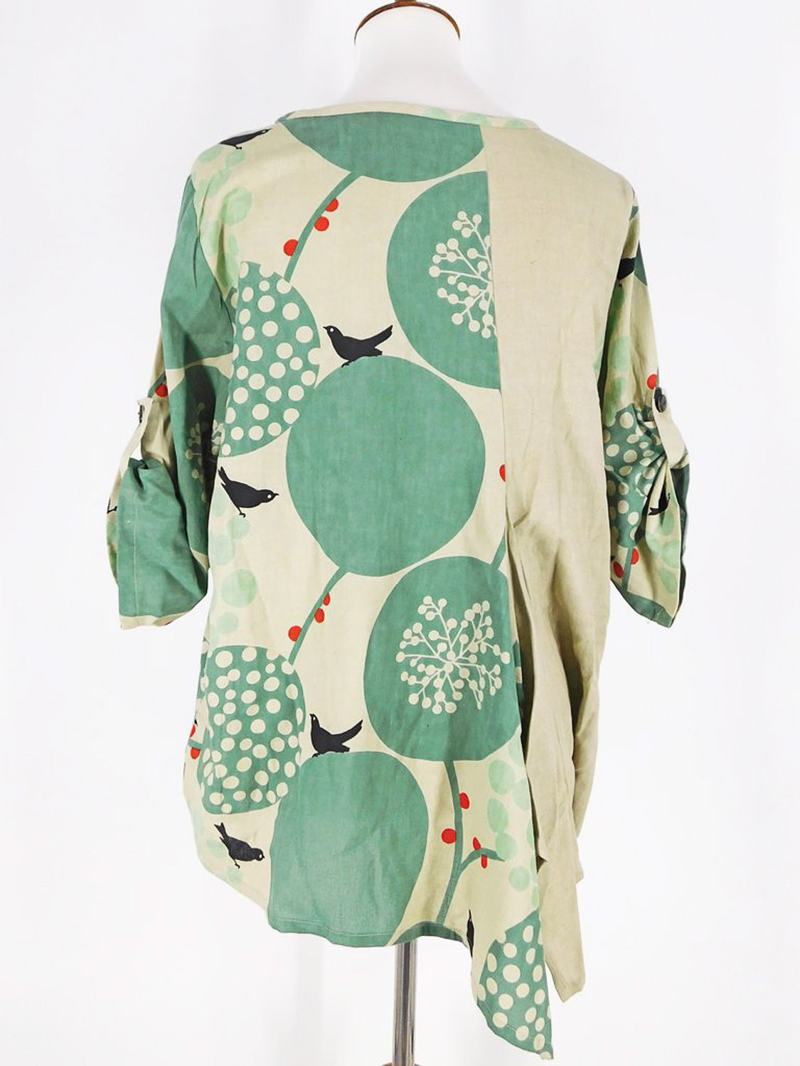 Green Bird Print top Mao Mam