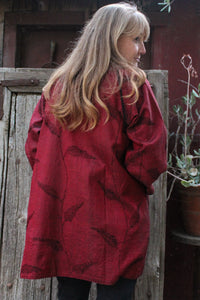 Night Bamboo Silk/cotton Pocket Jacket, NB2/red/one size - Mieko Mintz