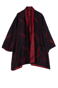 Night Bamboo Silk Cotton A-line Jacket NB2/Red/one size - Mieko Mintz