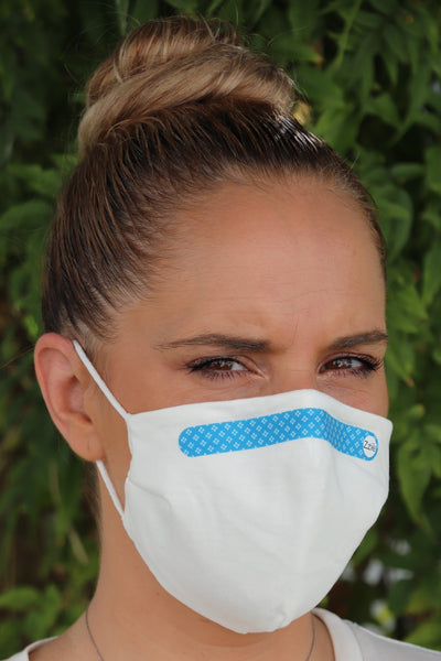 White Reusable face masks - elastic - blue with squares