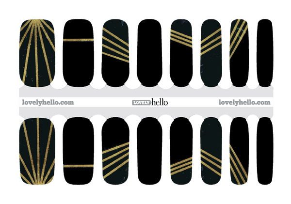 Roaring 20's Gold and Black Nail Wraps