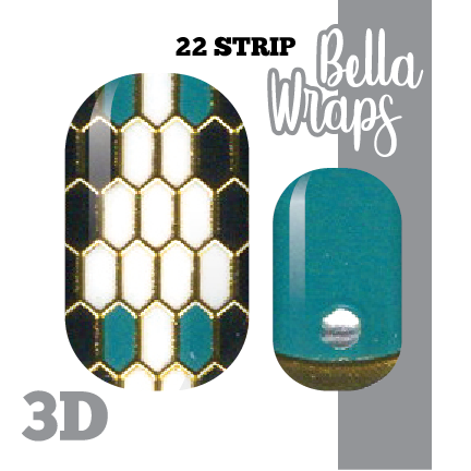 Golden Teal Diamondback Nail Wraps
