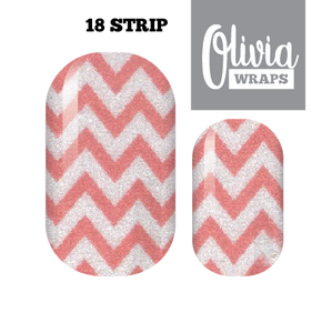Chevrons of Coral Nail Wraps