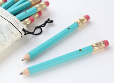 Gold Heart Mini Pencils, Teal