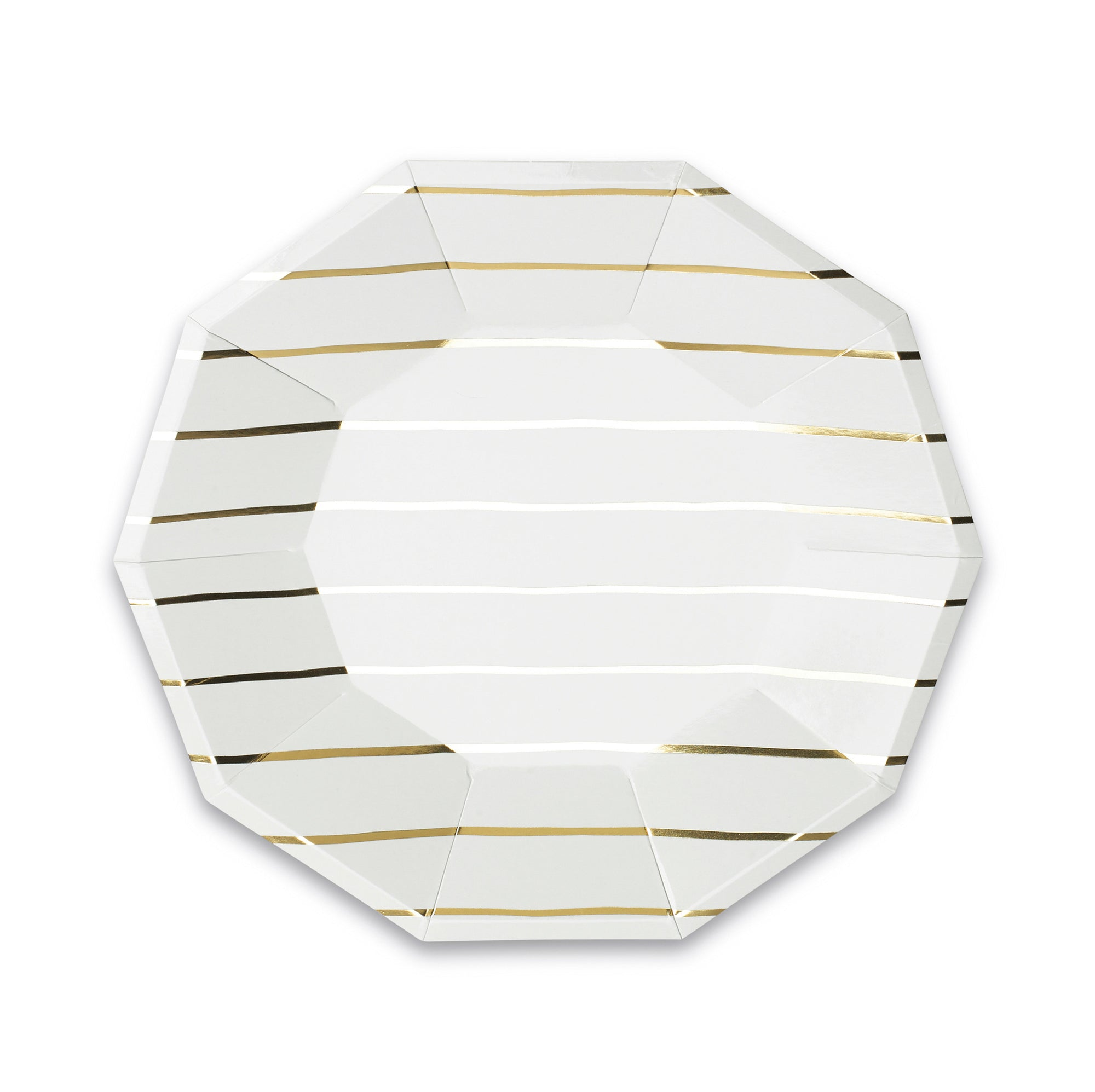 Frenchie Striped Large Plates, Gold Metallic