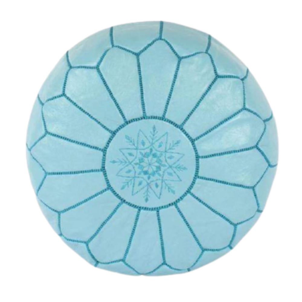 Cyan with blue stitching Moroccan leather pouf