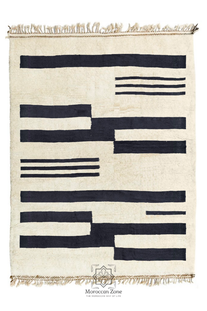 black and white handmade beniourain rug