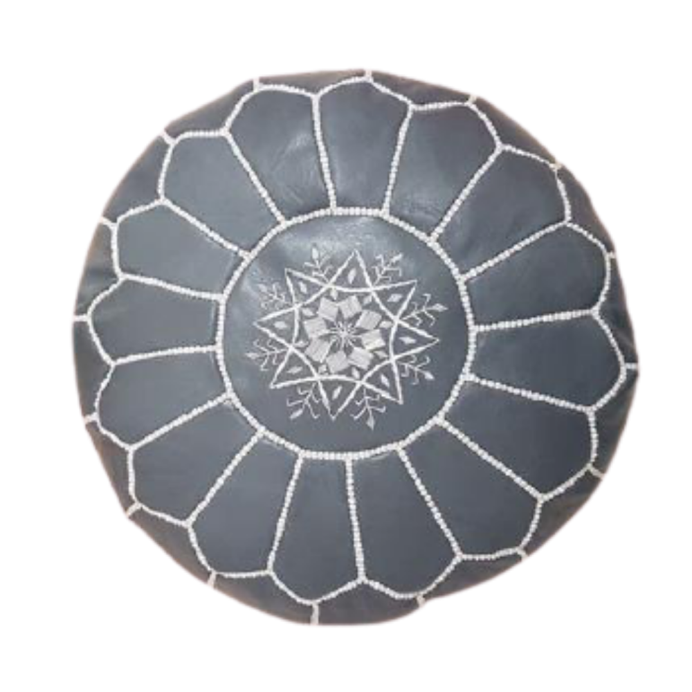 Gray with white stitching Moroccan leather pouf