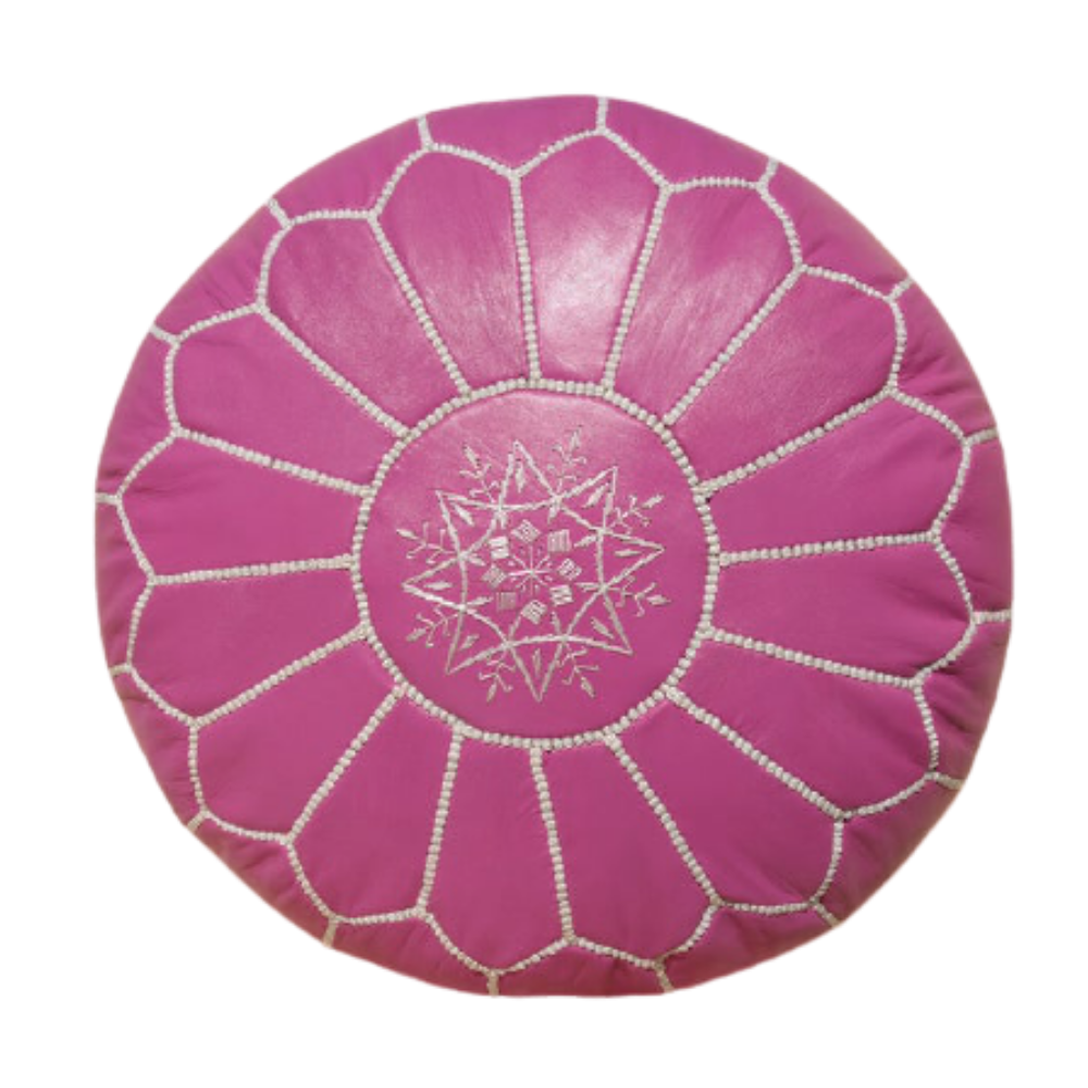 Magenta with white stitching moroccan leather handmade round pouf