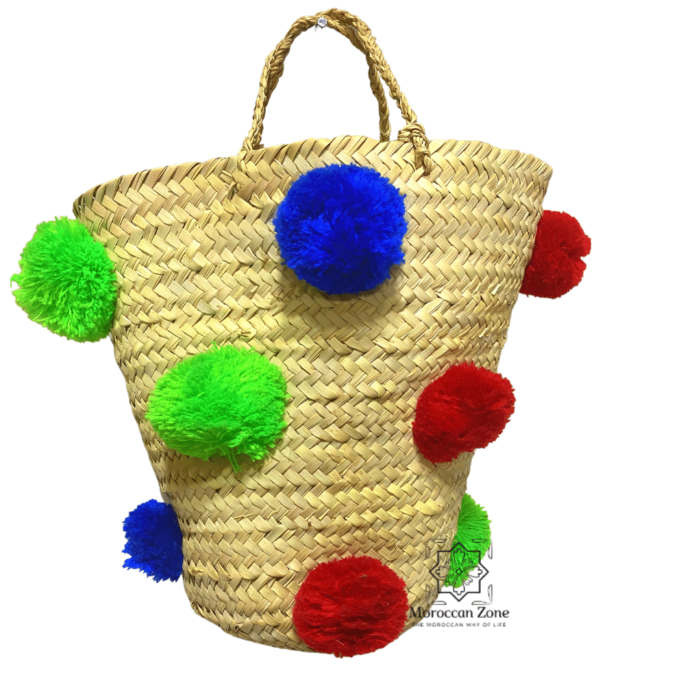 Small Straw Natural Moroccan handmade Basket PomPom Multicolors