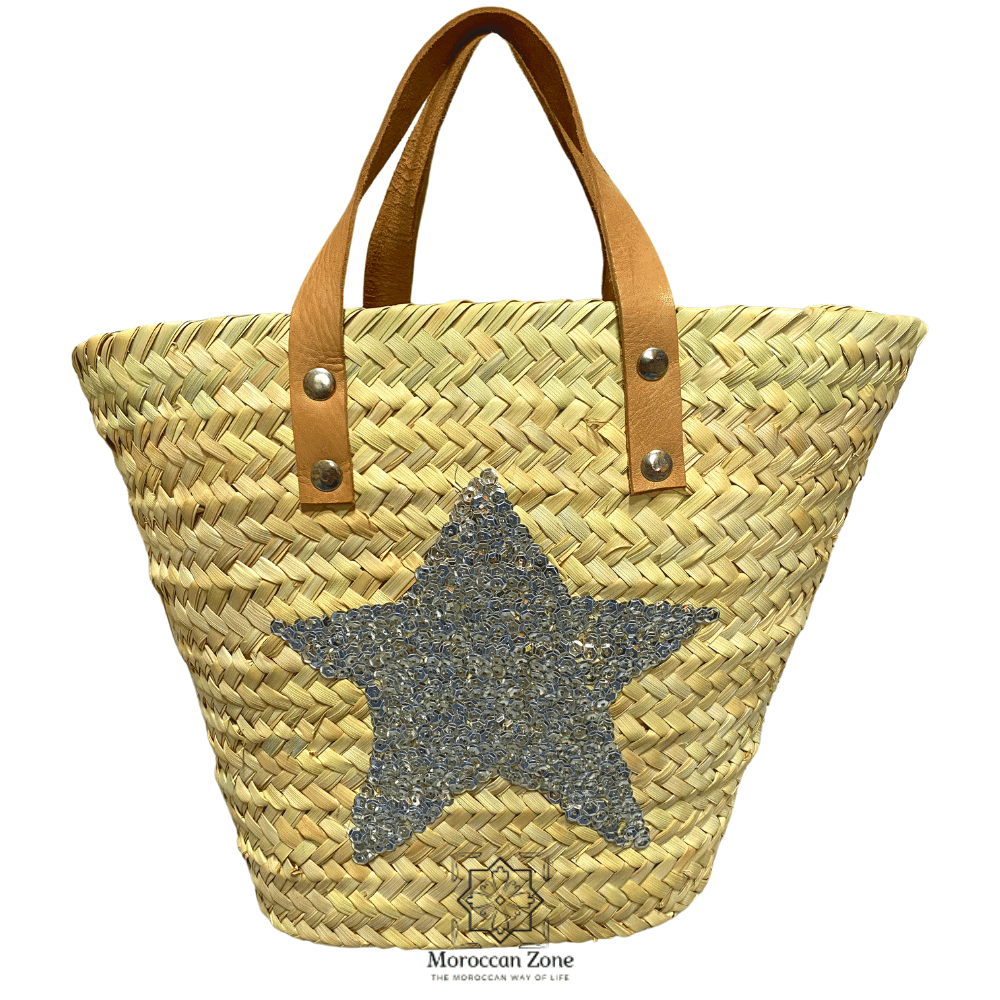 Small Straw Bag Natural Moroccan handmade Basket SilverStar