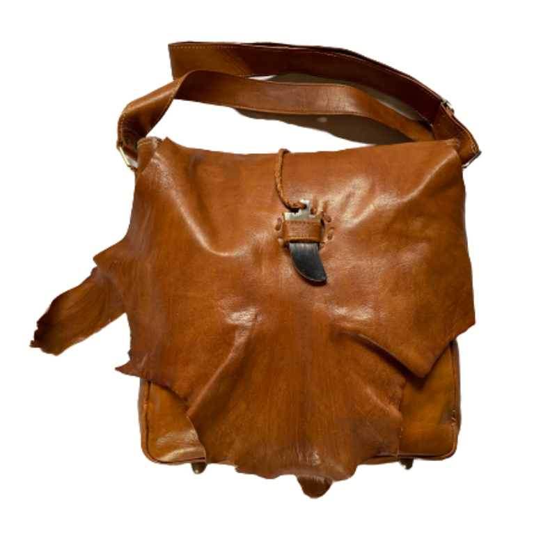Tan vintage moroccan handmade shoulder leather bag