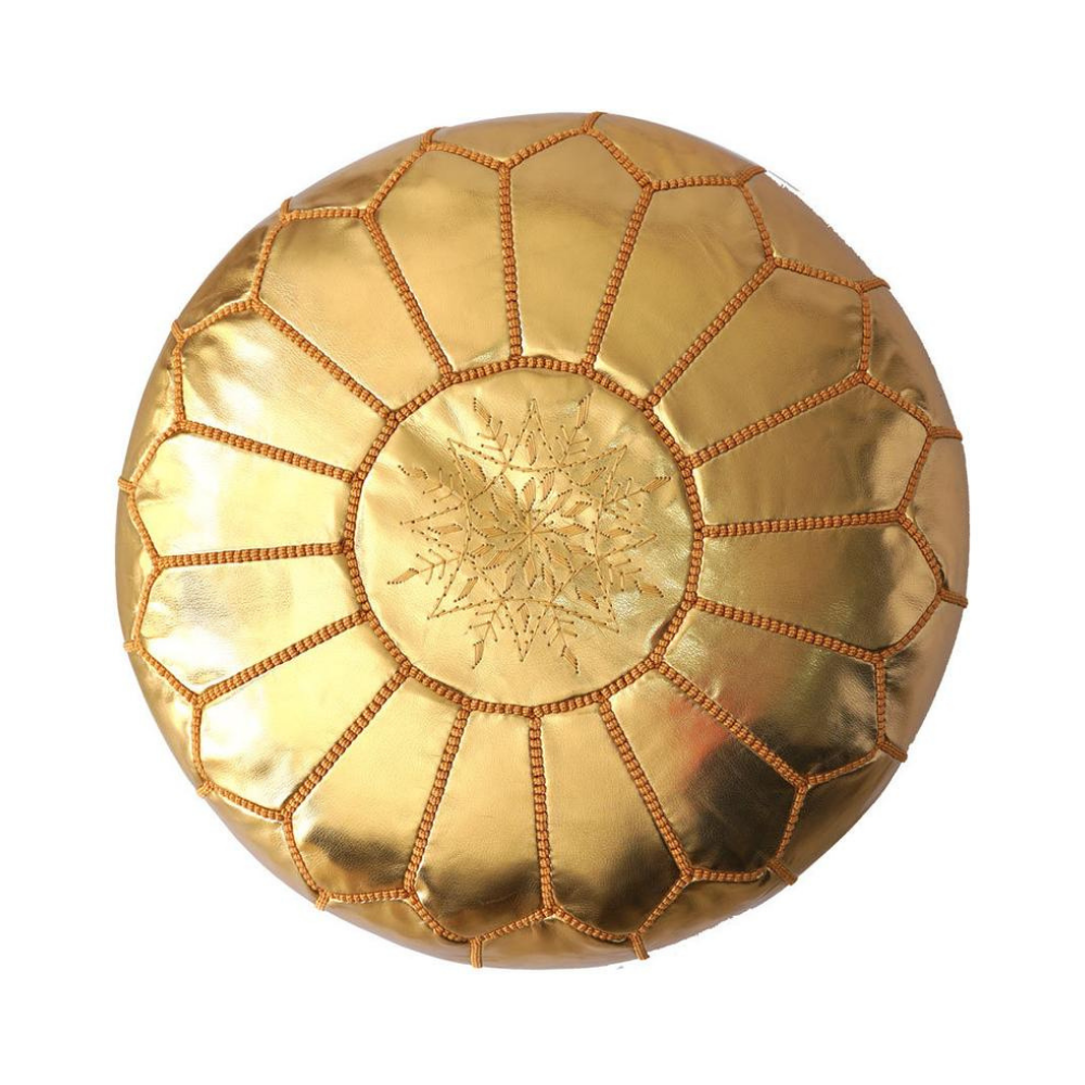 Gold moroccan leather pouf with orange stitching