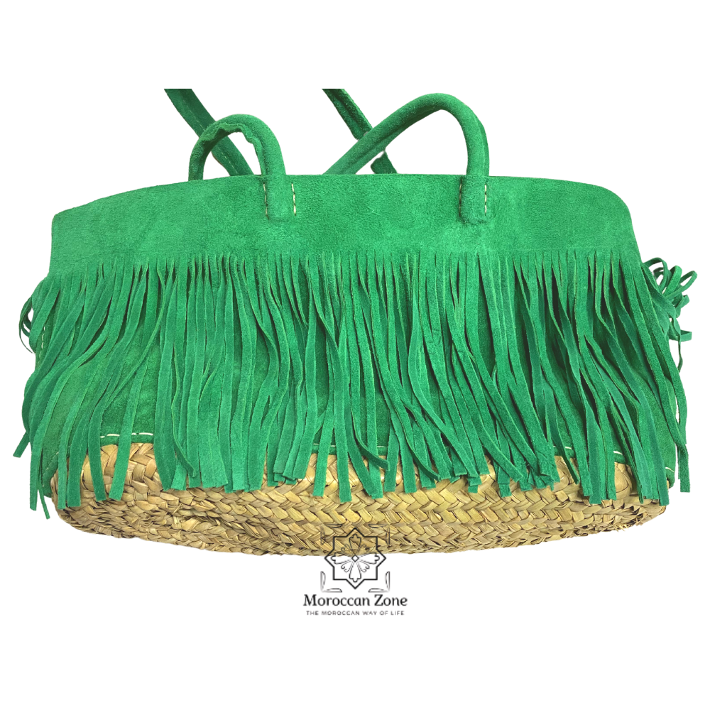 Straw Handmade handbag Green Suede Leather side