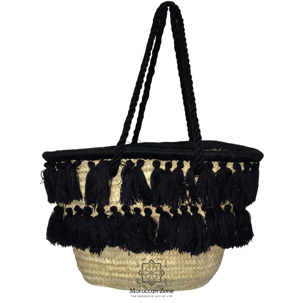 Straw Bag Natural Moroccan handmade Basket With Double Line Black Tassels