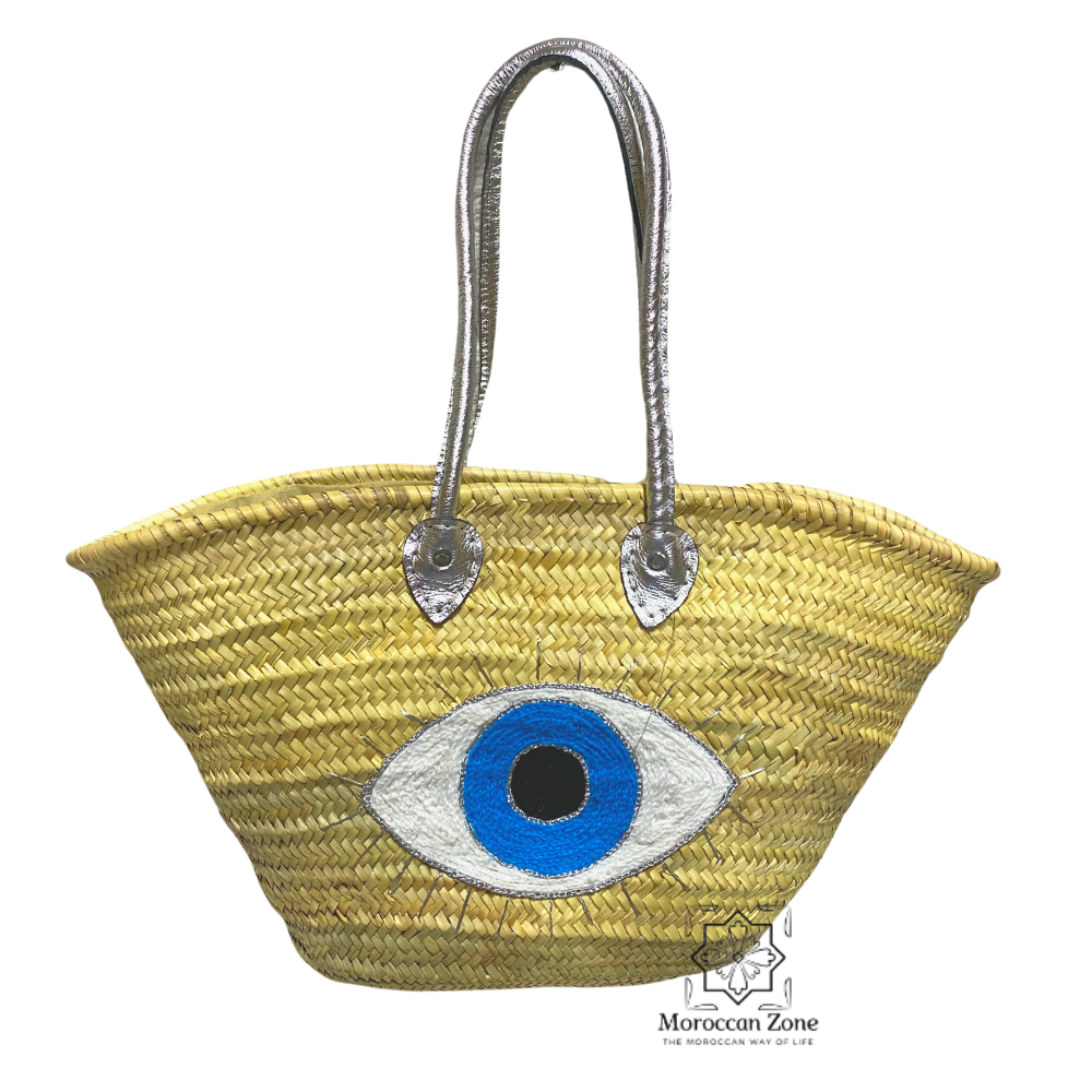 Straw Bag Natural Moroccan handmade Basket Silver Eye design