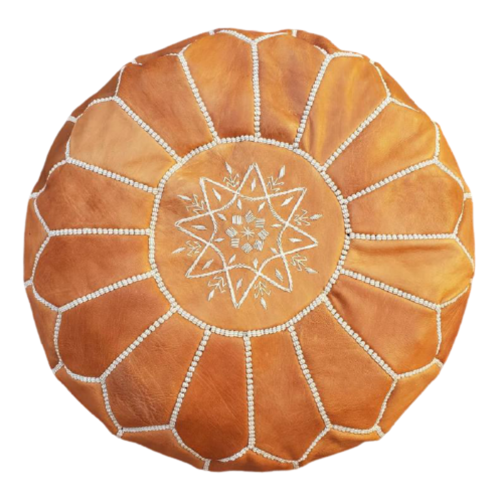 Tan Moroccan round leather pouf