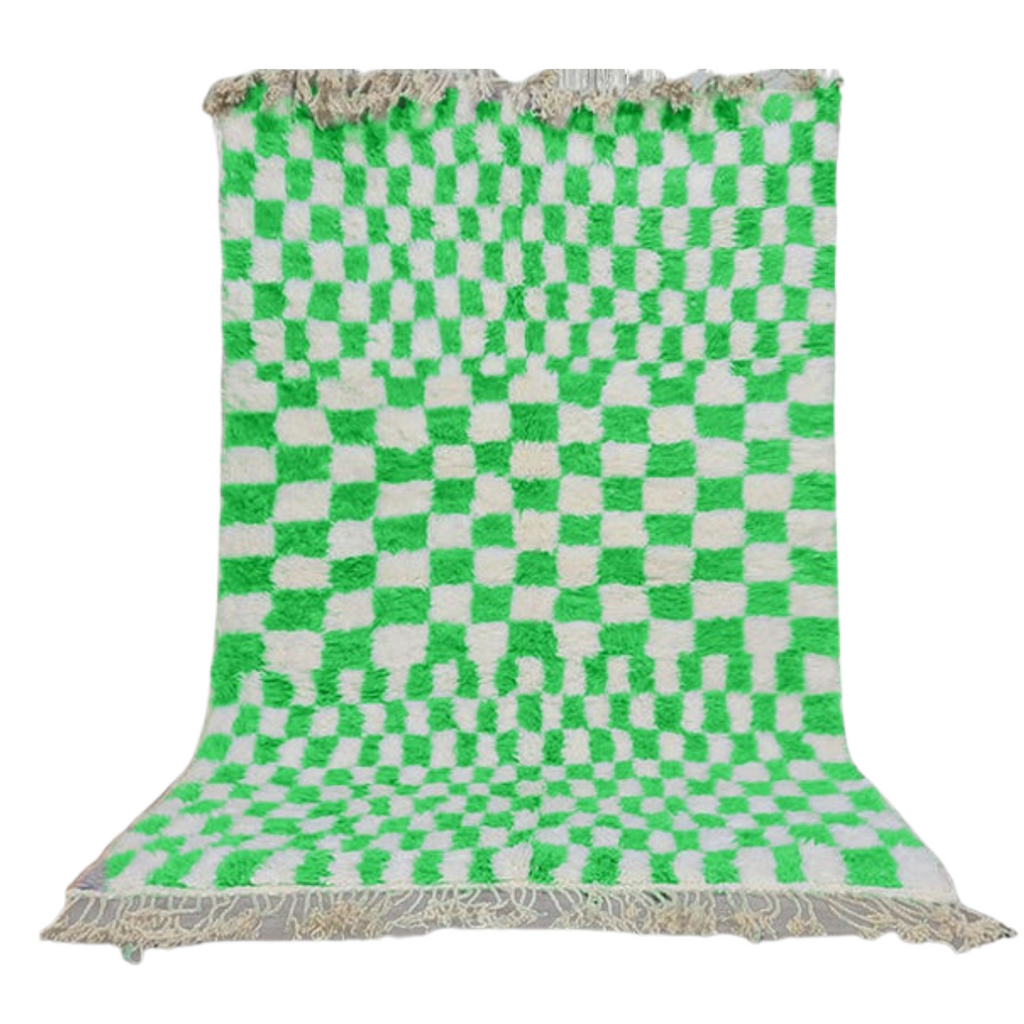 Custom Beni ourian Rug - White and Green - 4'x6'