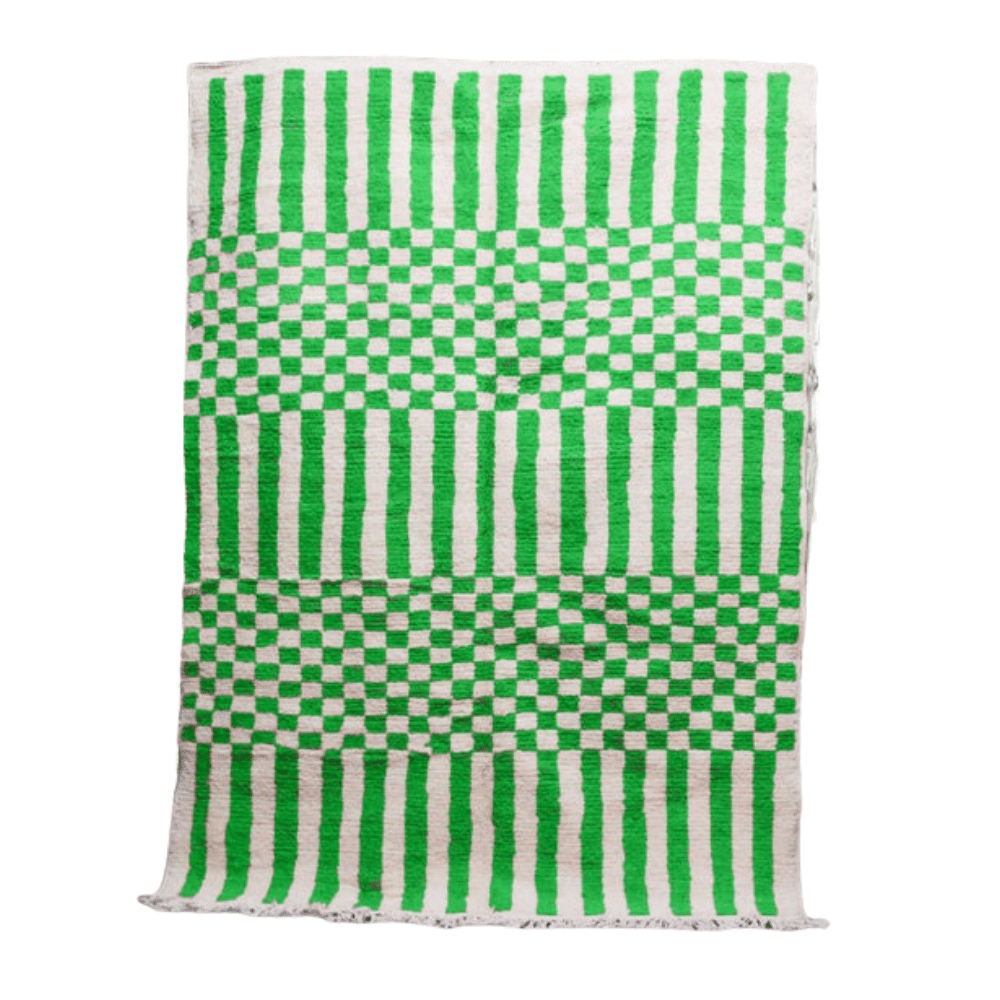 small checkered board green and white rug
