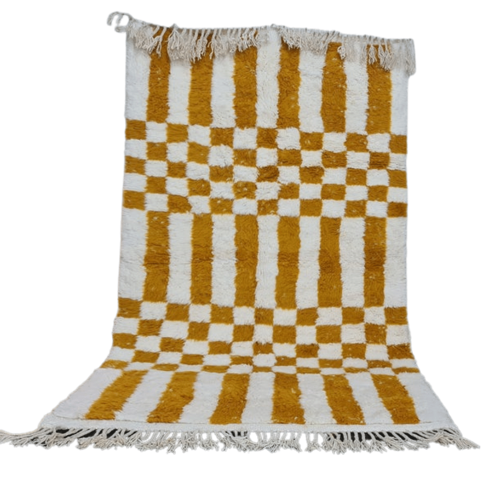 small checkered board yellow and white rug