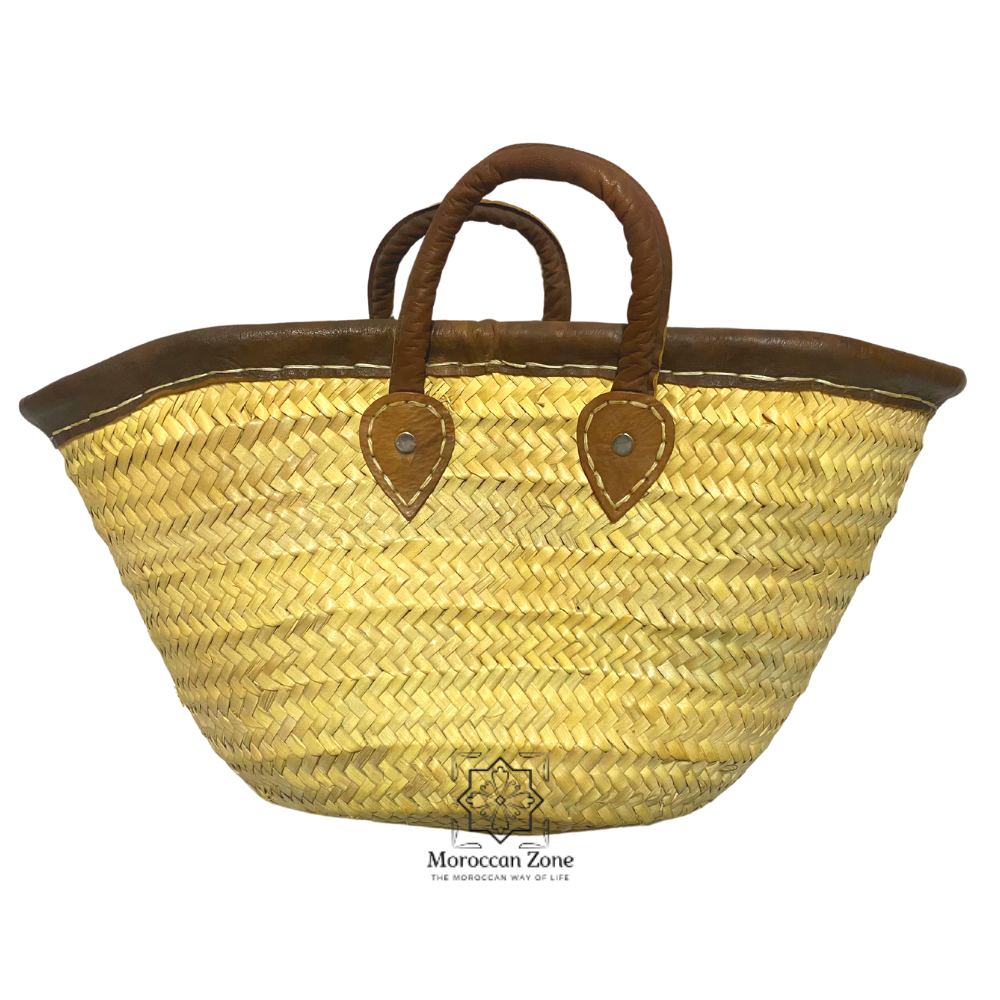 Small Straw Natural Moroccan handmade Basket Brown Leather Handles
