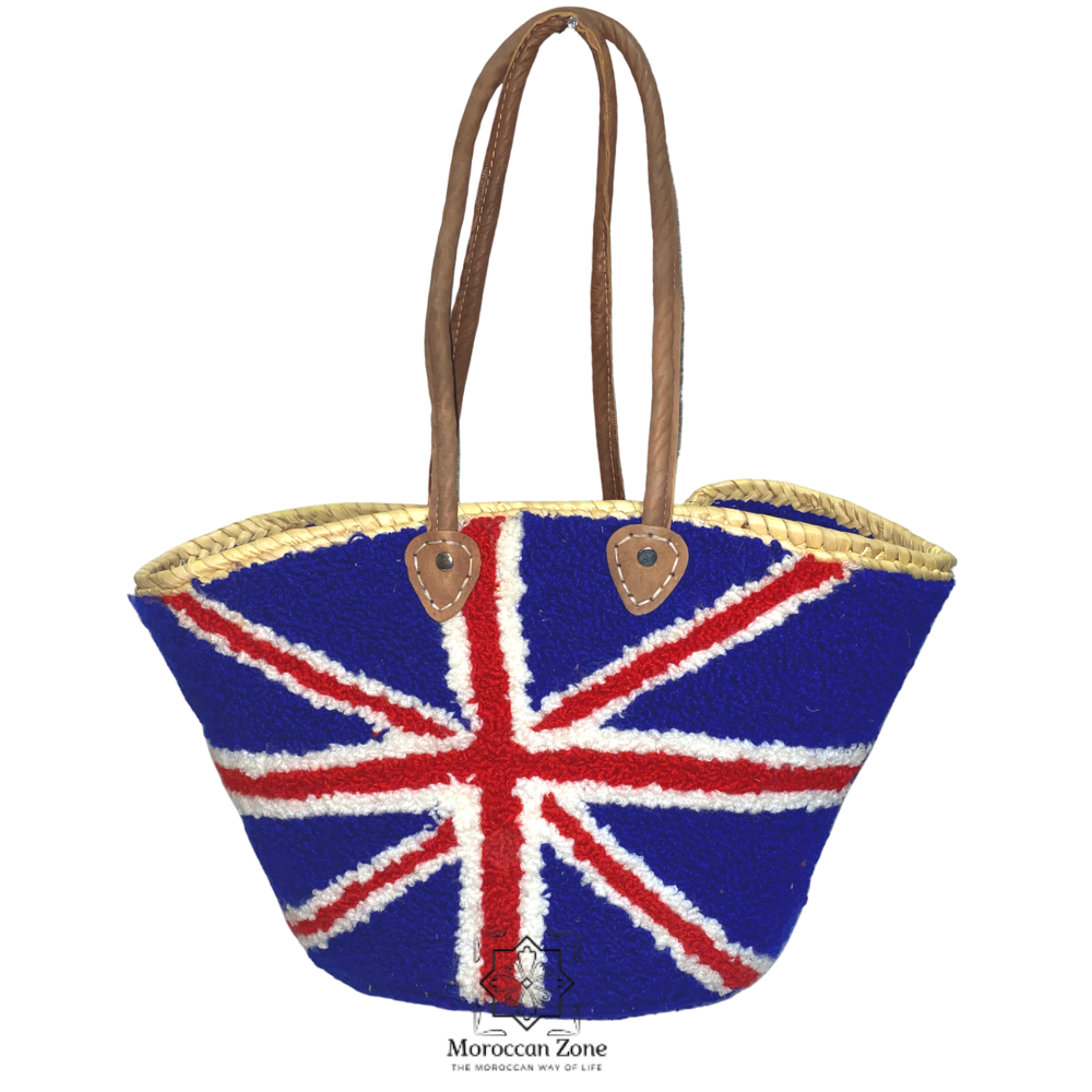 Straw handmade moroccan bag with leather handles UK design