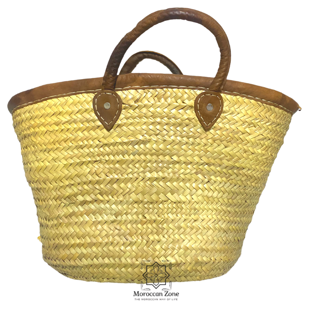 Small Straw Natural Moroccan handmade Basket Brown Leather Handles small