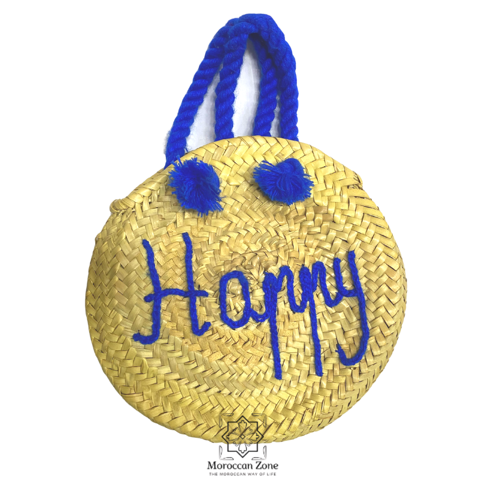 moroccan handmade round straw bag blue happy