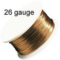 Artistic Wire - 26 Gauge - Natural (Copper) (30 yard - 27 m reel)