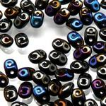 Czech 2-hole Super Duo Beads - Black AB (Jet Azuro) - 10 grammes